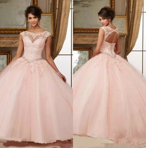 Pink Beaded Prom Dresses 2019 Sheer High Neck Sweet 16 Masquerad Quinceanera Dresses Lace Appliqued Ball Gowns Tulle Debutante Ragazza Dress