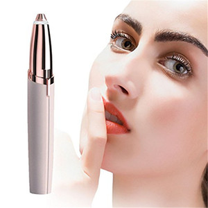 Wholesale Lipstick Eye Brows Hair Remover Micro Precision K Gold Plated Remover Epilator Eyebrow Trimmer Shaving Machine Razor Built in LED Light