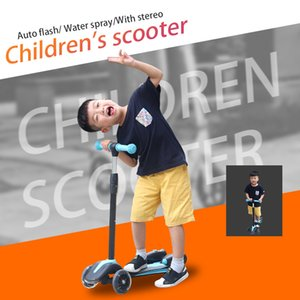 Wholesale Kids Scooter Skateboard Wheels Kick Skateboard with Handle Stand Water Spray Flash Light Sports Toy Child Electric Scooter