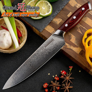 Wholesale box cutting knives resale online - 8 Inch Japanese Damascus Knife Layers Pakka Handle PRO Damascus Chef Knife VG10 Blade Damascus Kitchen Cutting Knife with Gift Box