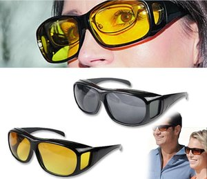 HD Night Vision Driving Sunglasses Men Yellow Lens Over Wrap Around Glasses Outdoor Cycling Dark Driving UV400 Protective Goggles Anti Glare