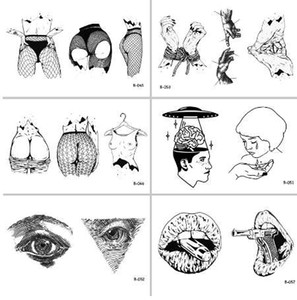 Wholesale Sexy Woman Body Mouth Gun Eyes Waterproof Temporary Tattoo Stickers for Adults Body Art Fake Tatoo for Women Tattoos