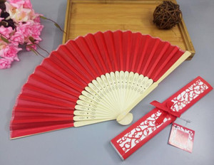Wholesale Chinese Silk Folding Luxurious Silk Fold Hand Fan in Elegant Laser Cut Gift Box Party Favors Wedding Gifts