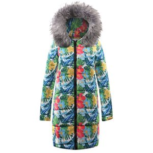 Wholesale High Quality Winter Jacket Coat Print Women Fashion Parkas Coat Female Down Jacket With A Hood Large Faux Fur Collar