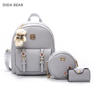 DIDA BEAR Fashion 4pcs Set Bag Women Leather Backpack Cute School BackpacFor Teenage Girls Female Shoulder Bag Flowers Purse
