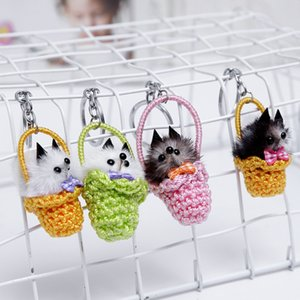 Hot Selling Little Fox Fur Grass Basket Key Ring Animal Model Car Keychain Plush Toy Pants Accessories Children'S Toys Gifts Free DHL G558R