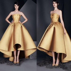 Special Designer High Low Gold Evening Dresses Strapless Satin Applique Ankle Length Formal Prom Gowns Petite Robes de cocktail 2019 haifa on Sale