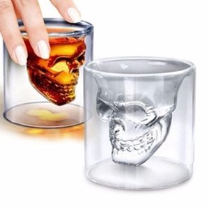 Wholesale Skull Shot Glass oz Crystal Glasses Double Layer Transparent Skull Pirate Shotglasses Drink Cocktail Beer Cup gift box