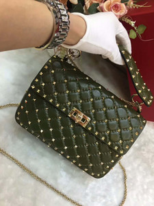 Wholesale New genuine leather real high fashion handbag diamond lattice metallic rose gold rivet cross body pack sheep skin leather full start OL cm