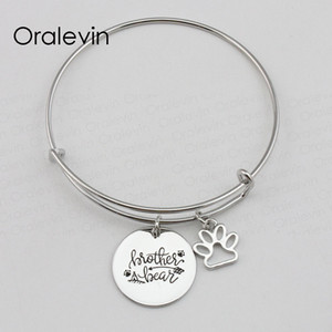 Wholesale Hot Sale BROTHER BEAR Inspirational Hand Stamped Engraved Custom Pendant Expandable Wire Bangle Bracelet Diy Jewelry LN2240B