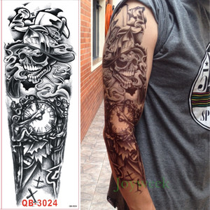Wholesale Waterproof Temporary Tattoo Sticker full arm large skull old school tatto stickers flash tatoo fake tattoos for men women girl 9