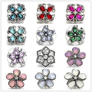 Exquisite Noosa Inlay Crystal Four Leaf Clover Metal Snap Buttons 18mm Button Charms For DIY Snap Jewelry Findings