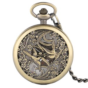 Wholesale Unisex Vintage Phoenix Mechnical Pocket Watch for Men Women Charm Lucky Pendant Beautiful Flower Carving Watches Special Gifts