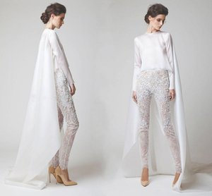 Wholesale Sexy White Evening Dresses Two Pieces Chiffon Lace Pearl Trousers See Through Long Sleeves Elio Abou Fayssal Evening Gowns With Jacket