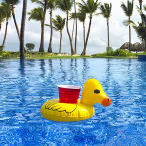 Wholesale Sand Inflatable Cup Holder Inflatable Coasters Duck Cups Holders Floating Bar Coaster Small Yellow Ducks Cute Popular