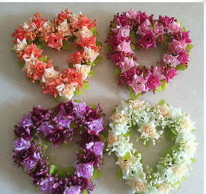Wholesale Fashion Romantic Heart Shaped Artificial Flower Wreath Decor Hanging Wreaths Flowers Garland with Silk Ribbon Wedding Decoration