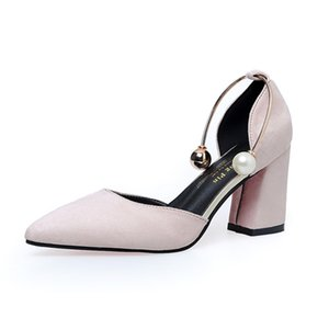 Wholesale shoes side female resale online - Korean temperament suede side hollow pointed high heels coarse with a single shoes female pearl shallow mouth shoes women s shoes
