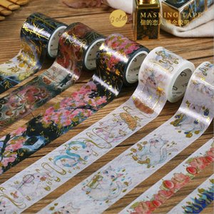 Wholesale Gold Foil Washi Tape Romantic Cherry Blossom Sakura Cat Diy Scrapbooking Masking Tapes Cute Japanese Stationery
