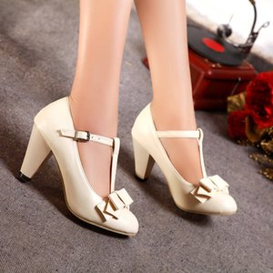 Wholesale 2018 new women shoes Plus Big size Women Pumps Sexy Dress Chunky Heel High Spring and Fal T tied Butterfly knot bowknot