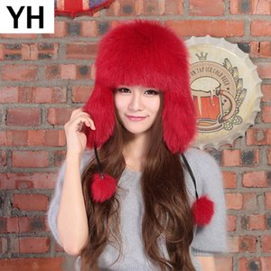 Wholesale 2018 Winter Genuine Real Fox Fur Bomber Hat Women Natural Real Sheepskin Leather Cap Russia Warm Fox Fur Bomber Caps