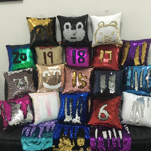 Wholesale DHL colors suede material Reversible Mermaid Sequin cushions double colors sequined pillow case hot sell for christmas and halloween