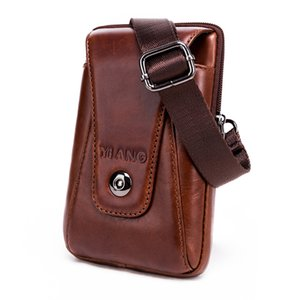Wholesale New Fashion Vintage Men Genuine Leather Flap Travel Waist Pack Male Mini Shoulder Bag Leisure Sling Bag Small Pocket