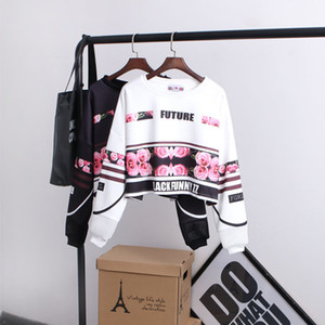 Wholesale Woman 'S Sweatshirt Harajuku O-Neck Letters Sexy Crop Top Punk Hip -Hop Hoody Sudaderas Mujer Fashion Feminino Moleton Punk Style