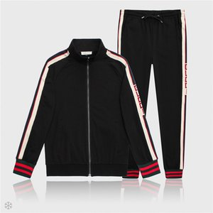 Wholesale Mens New Fashion Unique Jackets and Pants Solid Color Sport Sweatshirt Brand Designer Autumn Zipper Coat and Casual Long Pants M XL