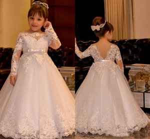 Wholesale White Long Sleeves Flower Girls Dresses For Wedding Princess Bateau Ribbon Sash Adult And Child Wedding Gown Cheap