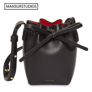 2017 MINI bucket bag mansur women Split leather MINI shoulder bag lady leather cross bag, freeshiping
