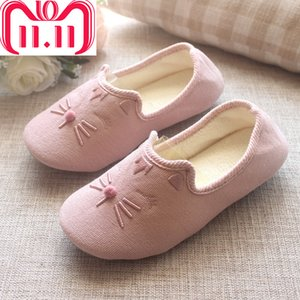 wholesale Autumn Winter Big Size Cartoon Animal Cat Home Cotton Slipper Women Indoor Floor Warm Bedroom Pregnant Flat Shoes Gift