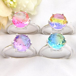 Wholesale Mix Color Holiday Jewelry Gift Newest Round BI COLORED Tourmaline Gemstone Sterling Silver Plated Women Ring