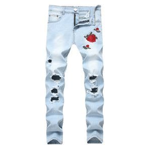 супер цветы розовые оптовых-New Ripped Hole Jeans Embroidery Men Flowers Rose Embroidered Men s Denim Jeans Super Stretch Slim Jean Biker Male Trousers