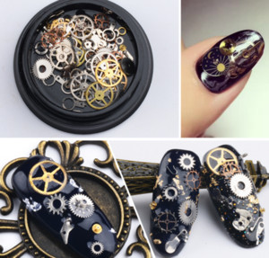 Wholesale free DHL Nail art Decorations Steam Punk Parts Clocks Studs Gear D time Nail Art Wheel Metal Manicure Pedicure DIY Tips Ornaments