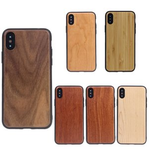 Wholesale TPU Arc Edge Real Wood Case Wooden Cover Retro Protector Cases For iPhone X Xr Xs Max S Plus