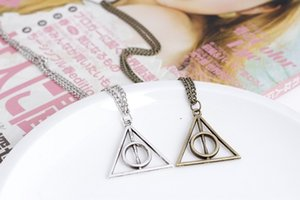 Wholesale 3 styles Harry Book The Deathly Hallows Necklace Antique Silver Bronze Gold Deathly Hallows Pendants Potter Fashion Jewelry Best Selling