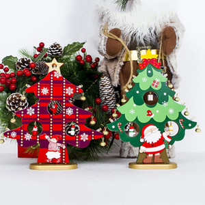Wholesale LED Light Up Wooden Christmas Tree Shape Table Decoration Ornament Xmas Gift Fashion