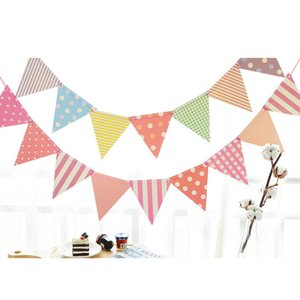 Wholesale 1set m Multicolor Paper Bunting Pennant Flags Banner Garland Wedding Banner Birthday Baby Shower Outdoor Party Decoration