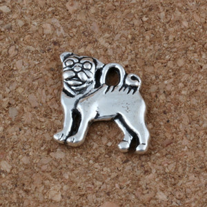 Wholesale Pug Dog Charms Pendants x16mm Antique Silver Fashion Jewelry DIY Fit Bracelets Necklace Earrings A