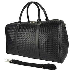 Waterproof Travel Bag Large Capacity Men Kanye West Woven Large Travel Bag Knitted Diamond Lattice PU Leather Handbag Suitcase
