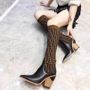 Fashion luxury designer women boots Sexy Knitted socks thigh high boots chunky heel F brand ladies winter boots