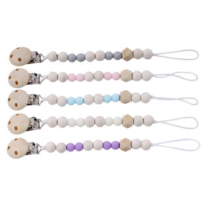 Baby Pacifier Clip Chain Wooden Pacifier Clips Holder Chupetas Soother Pacifier Clips Leash Strap Nipple Holder For Infant Feeding
