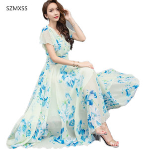 Wholesale Summer Maxi Dresses Womens Short Sleeve White Red Froral Bohemian Boho Beach Chiffon Long Dress Plus Size XL XL Vestidos