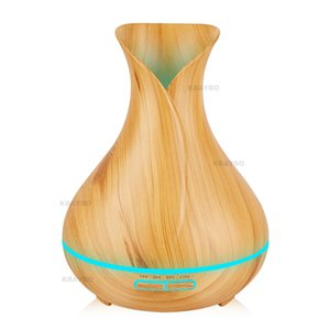 Wholesale 400ml Essential Oil Diffuser Wood Grain Ultrasonic Aroma Cool Mist Flower Vase Style Humidifier for Office Bedroom Baby Room Study Yoga Spa