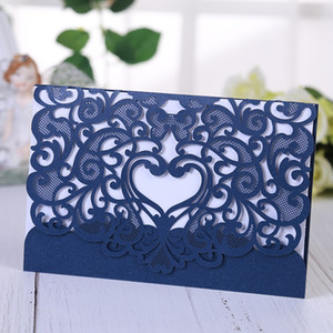 Wholesale Heart Laser Cut Wedding Invitation Cards for wedding wedding anniversary bridal shower birthday party favors