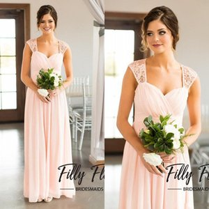 Wholesale scoop back bridesmaid dresses for sale - Group buy 2018 Blush Mint Royal Blue Chiffon Country Bridesmaid Dresses Long Cheap Lace Scoop Cut Out Back Floor Length Maid Of Honor Gown EN2241