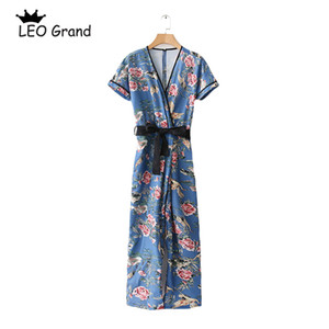 Wholesale Leo Grand women casual floral printed bodysuits cross V neck short sleeves playsuits bow tie design sashes jumpsuits