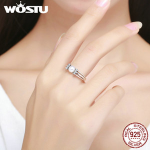WOSTU 2018 Genuine 925 Sterling Silver Freshwater White Pearl Triple Layer Ring Women Elegant Wedding Band S925 Jewelry BKR171
