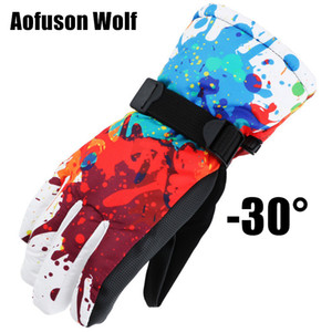 Wholesale Winter Ski Snowboard Gloves Waterproof Breathable Warmth Plus Thick Velvet Cycling Motorcycle Snow Sports Women Men Gloves 2018