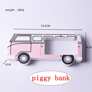 Wholesale Bus style Piggy Bank Wooden Money Box Children Coin Box Home Decoration Accessories Kids Gifts styles
